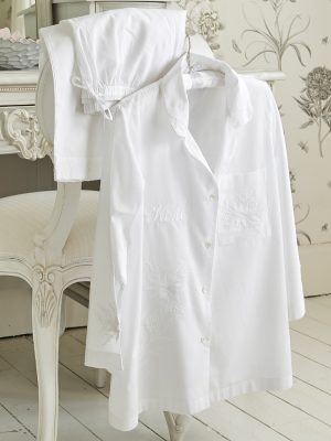 White Embroidered Cotton Pyjamas