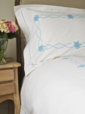 Elizabeth Hemstitch Duvet Cover - Blue