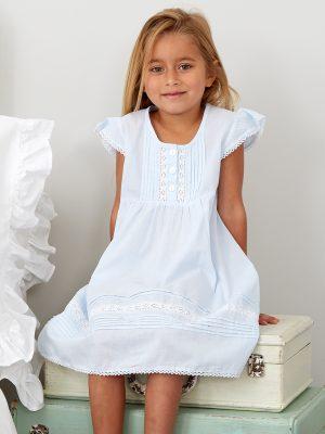 Blue Pintuck Cotton Dress