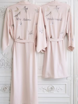 Butterfly Embroidered Dressing Gown Long
