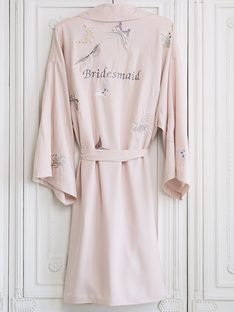 Butterfly Embroidered Dressing Gown Short | Lunn Antiques