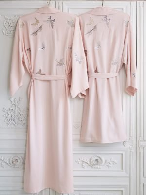 Butterfly Embroidered Short Dressing Gown