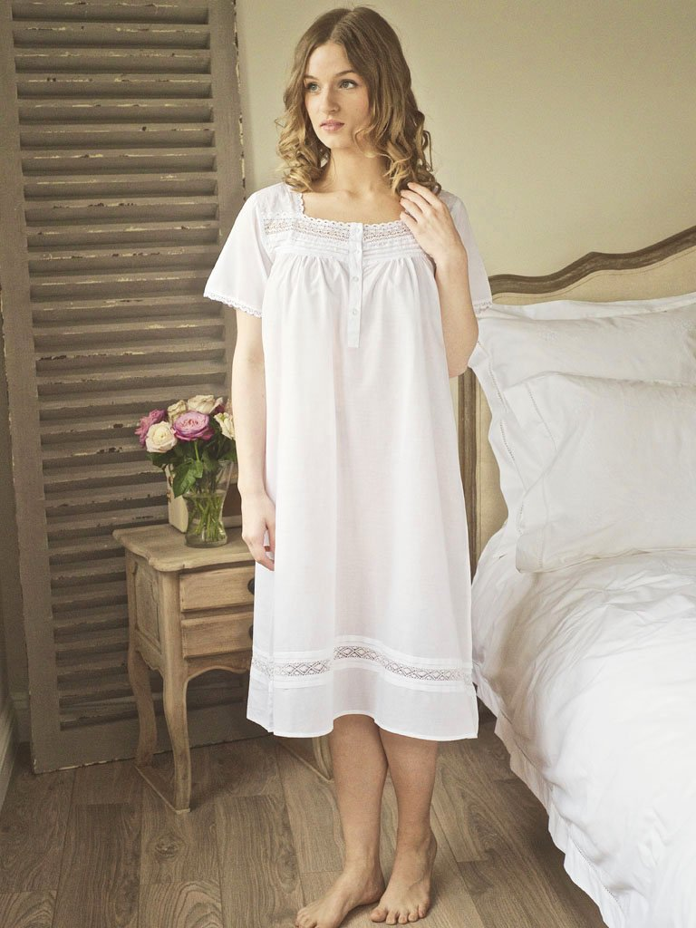 Dot & Lace Cotton Victorian Style Nightdress - Lunn Antiques