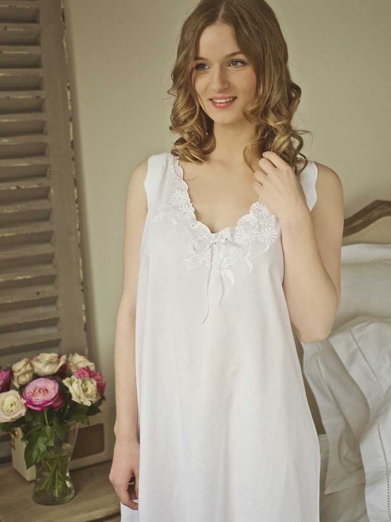 Edwardian Chemise Cotton Nightdress  5560f32dc
