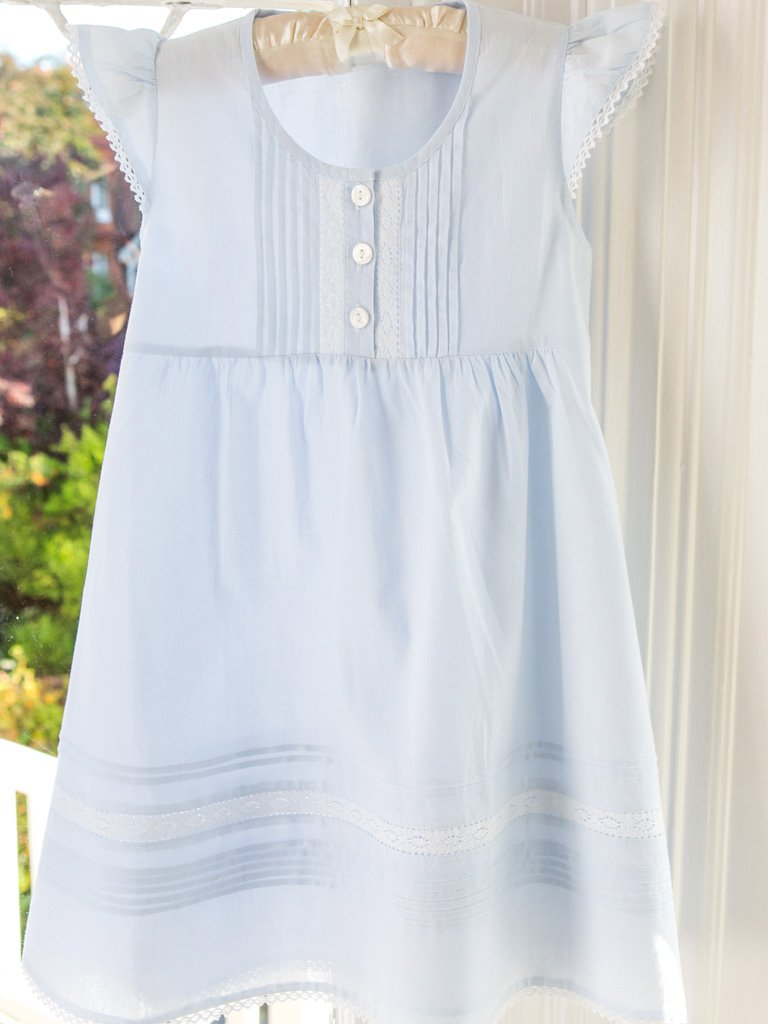 Blue Pintuck Cotton Dress