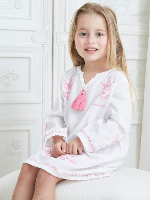 Pink Embroidered Cotton Kaftan