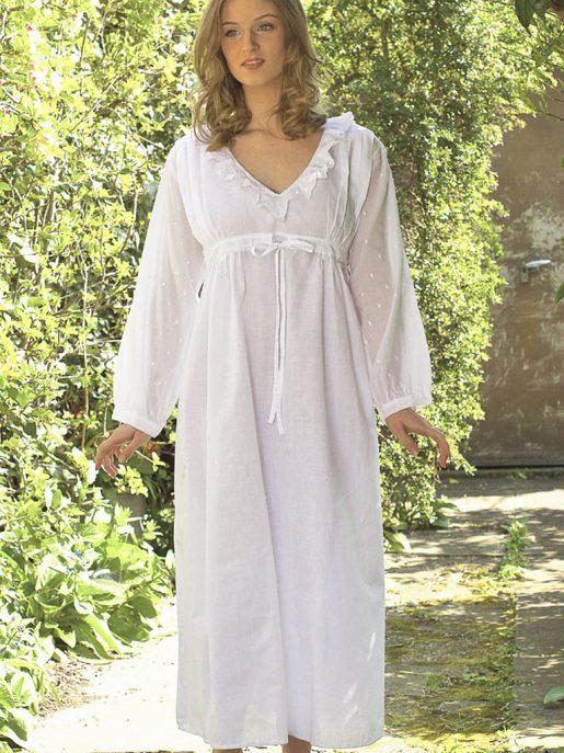 6da5c0672b Polka Dot Long Sleeve Cotton Vintage Inspired Nightgown