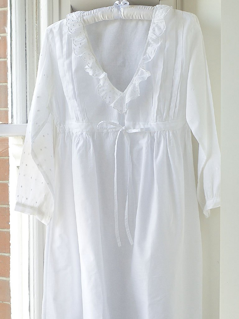 Polka Dot Longsleeve Cotton Vintage Inspired Nightgown - Lunn Antiques
