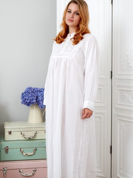 Polo Long Sleeve Cotton Victorian Style Nightdress