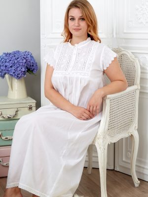Polo Short Sleeve Victorian Style Cotton Nightdress
