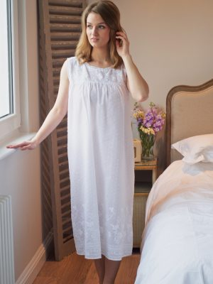 Sherie White Cotton Victorian Nightdress