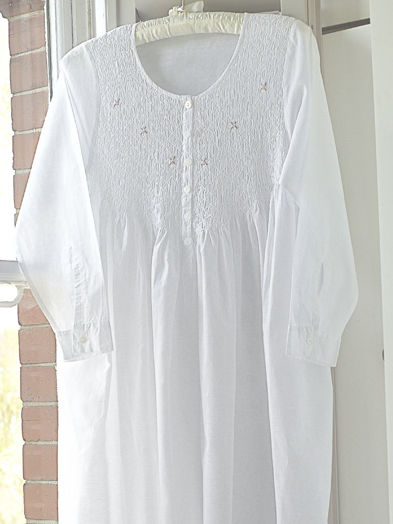 Smocked Long Sleeve Cotton Nightdress
