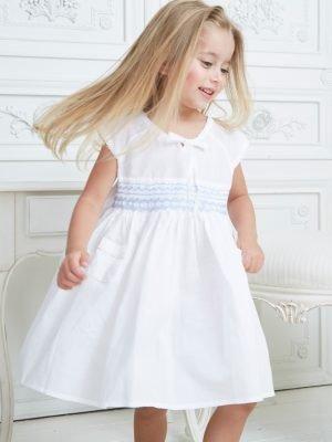 Smocked Pocket Cotton Dress