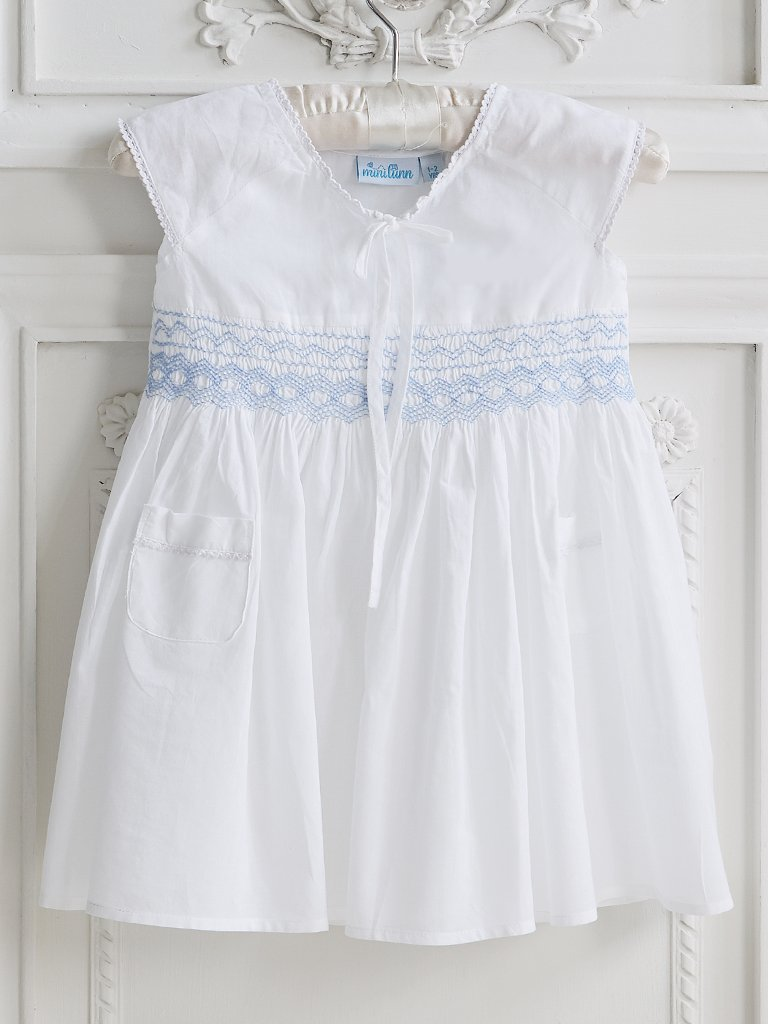 Smocked Pocket Cotton Dress