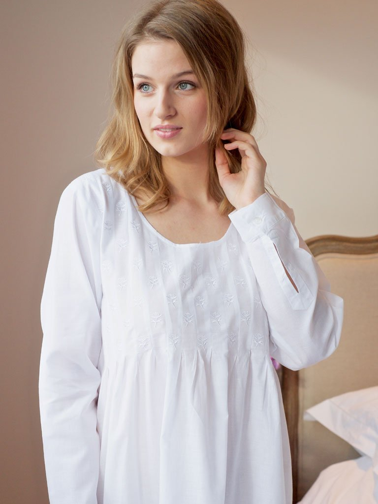 Lizzie Long Sleeve Cotton Victorian Style Nightdress