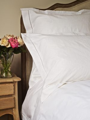 Elizabeth Hemstitch Duvet Cover White