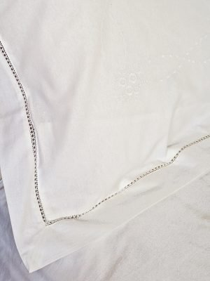 Elizabeth Hemstitch Pillowcase - White