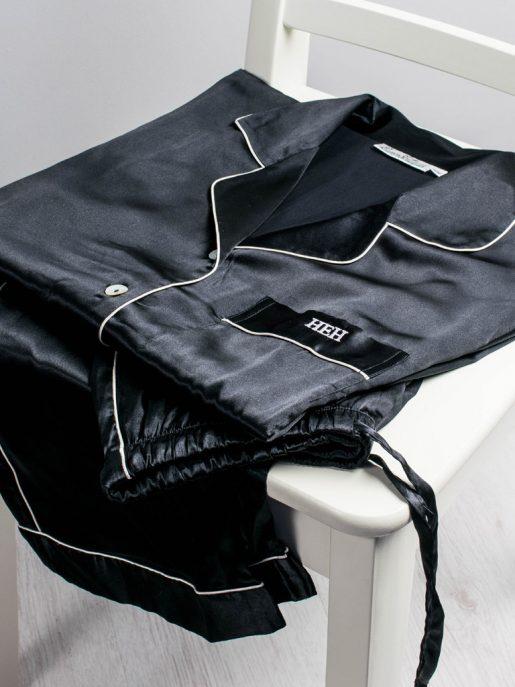 Black Satin Pyjama Set