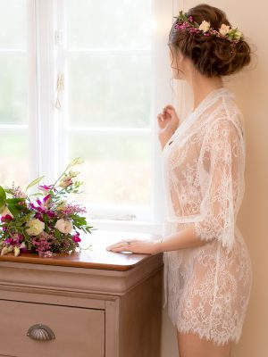 Ivory Lace Dressing Gown