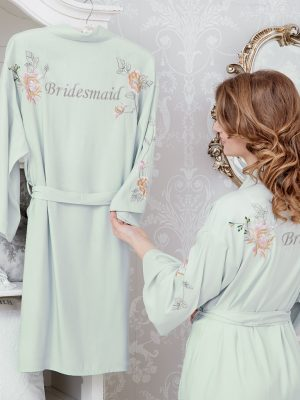 Peony Embroidered Dressing Gown Short