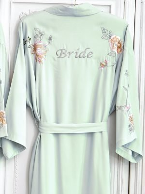 Peony Embroidered Dressing Gown Long