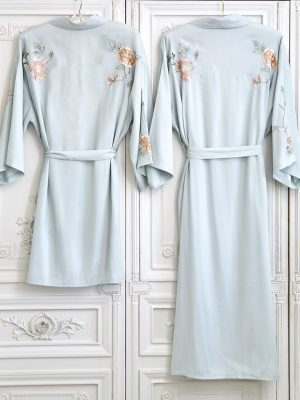 Peony Embroidered Long Dressing Gown