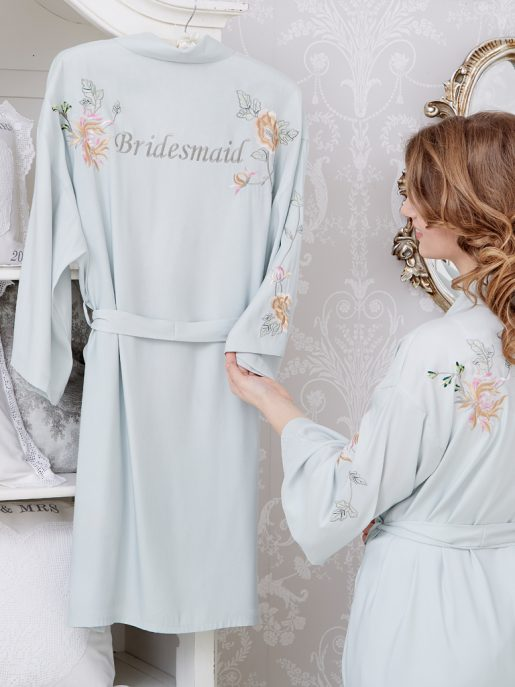 Peony Embroidered Dressing Gown Kimono Short