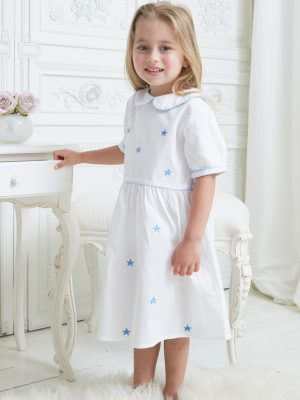 Short Sleeve Blue Star Collar Dress