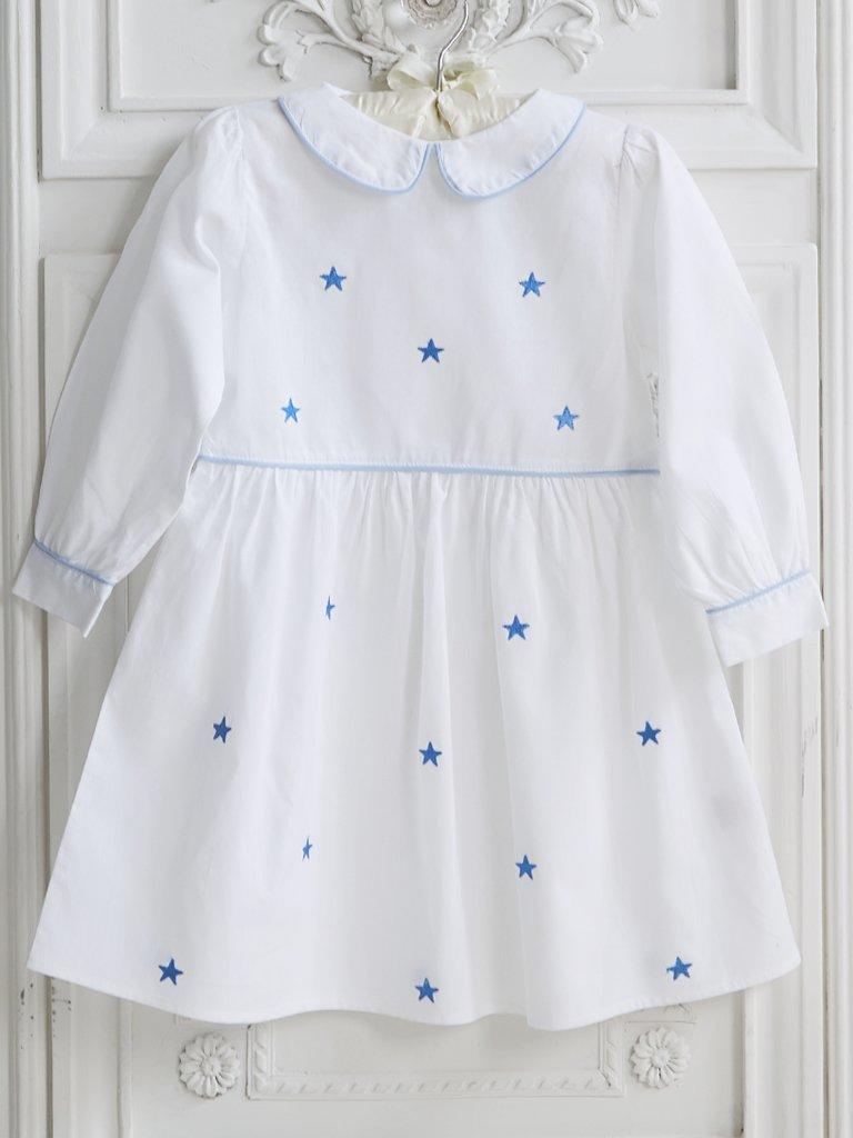Long Sleeve Blue Star Collar Dress