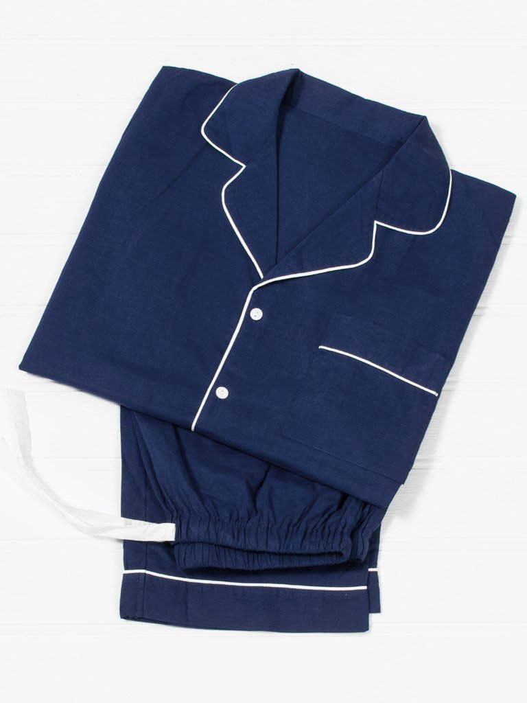 Men's Navy Cotton Pyjamas