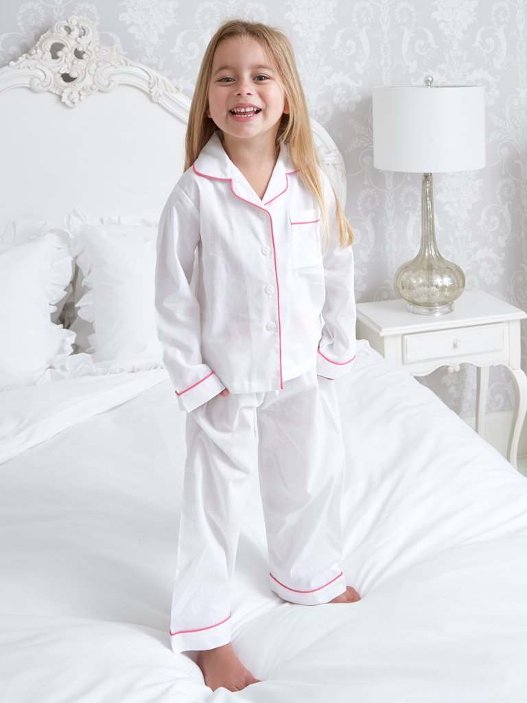 f77e88368e Girl s Mini Pink Piping Cotton Pyjamas