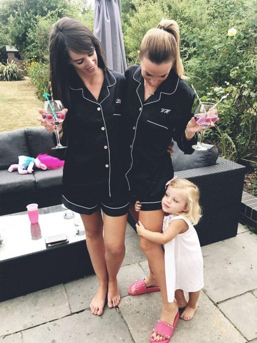 Black Silky Satin Coco Pyjamas Short Set