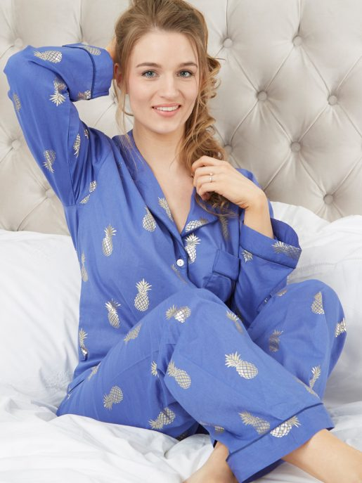 Printed Pineapple Cotton Long Pyjama Set