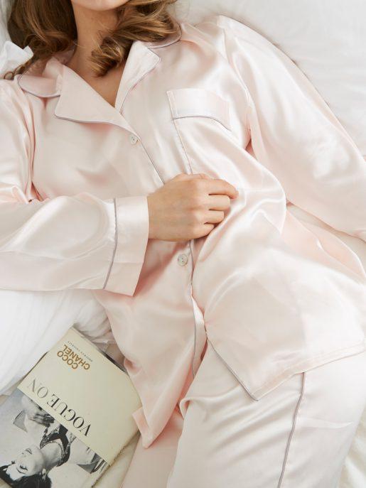 Pink Silky Satin Pyjamas