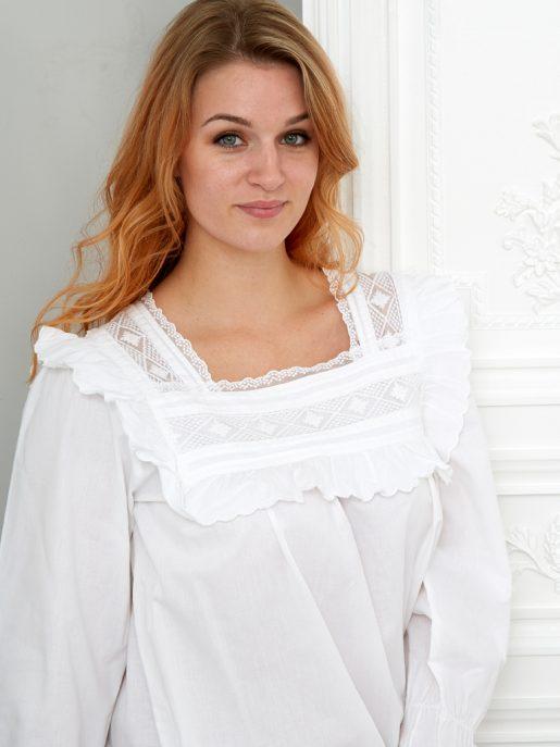 Lace Trim Cotton Nightdress