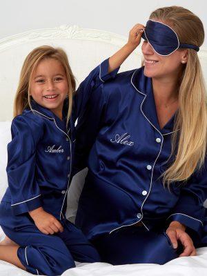 Mini Navy Satin Pyjamas