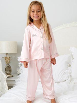 Mini Pink Satin Pyjamas