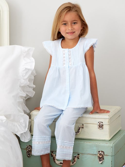 Blue Lace And Pintuck Pyjamas