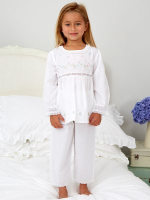 Floral Embroidered Pyjamas With Lace Trims