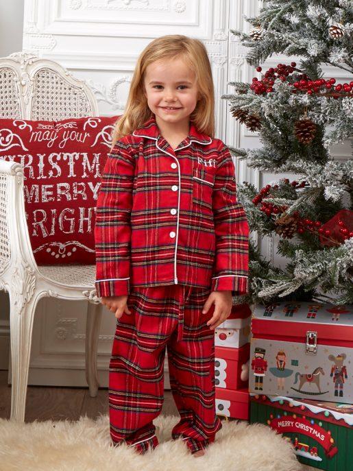 Girl's and Boy's Tartan Christmas Pyjama