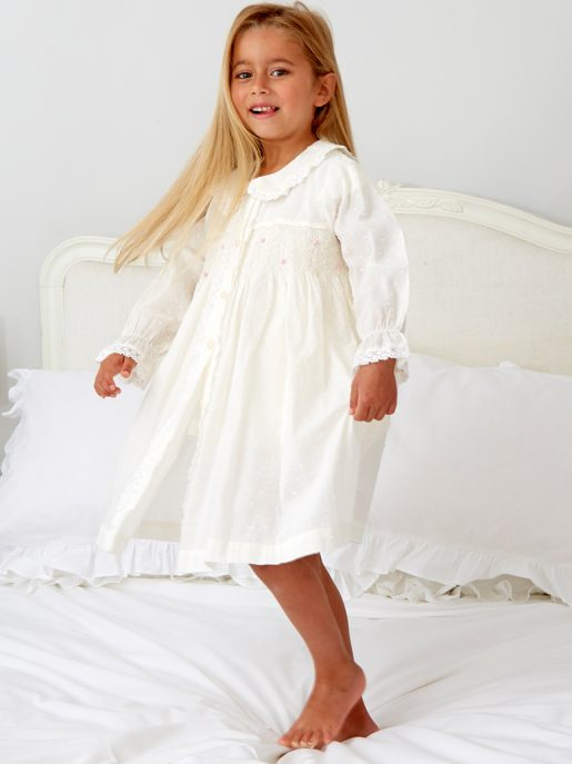 Girl's Ivory Smocked Dressing Gown