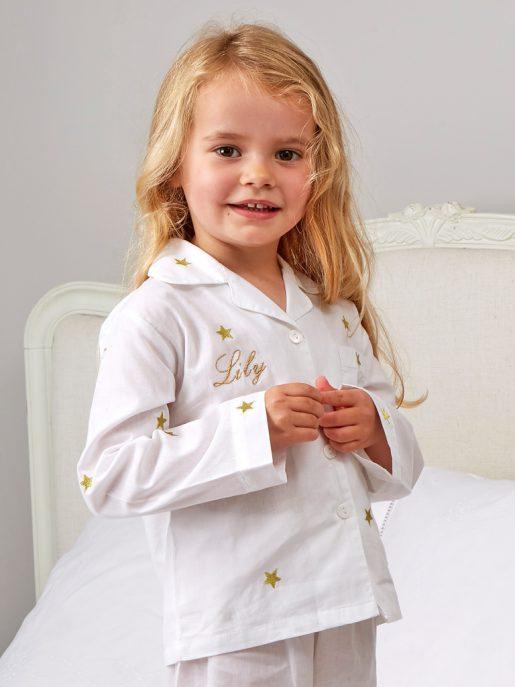 White and Gold Star Pyjamas